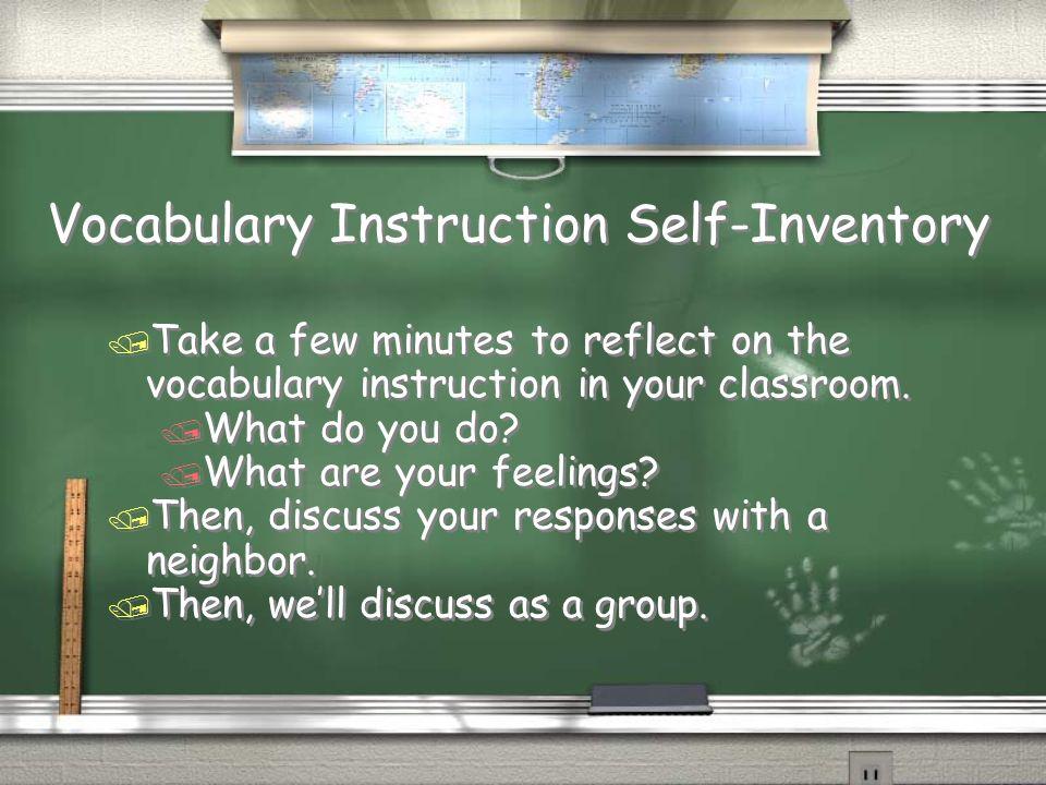 Vocabulary Instruction Self-Inventory