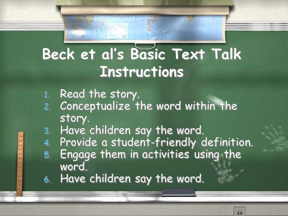 Beck et al's Basic Text Talk Instructions