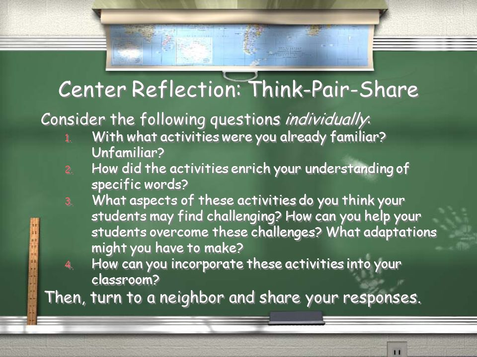 Center Reflection: Think-Pair-Share