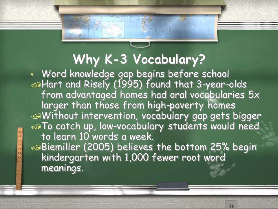 Why K-3 Vocabulary Word knowledge gap begins before school
