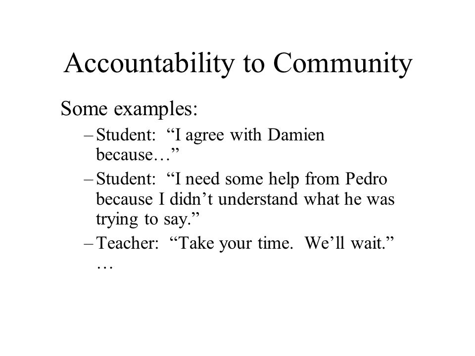 Accountability to Community