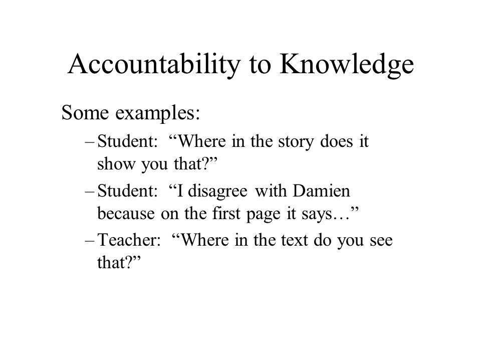 Accountability to Knowledge