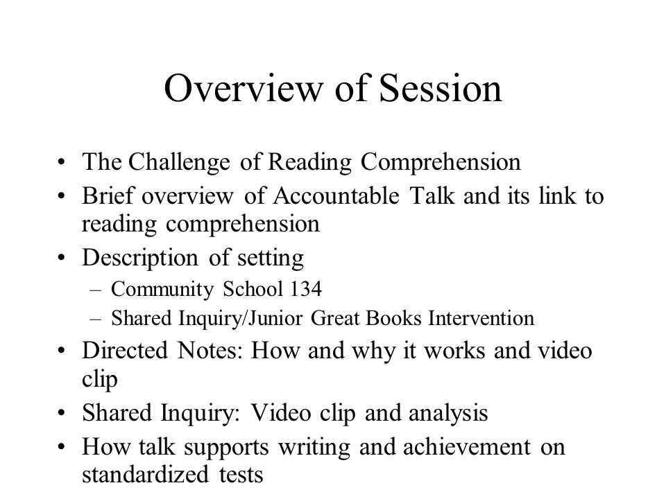 Overview of Session The Challenge of Reading Comprehension