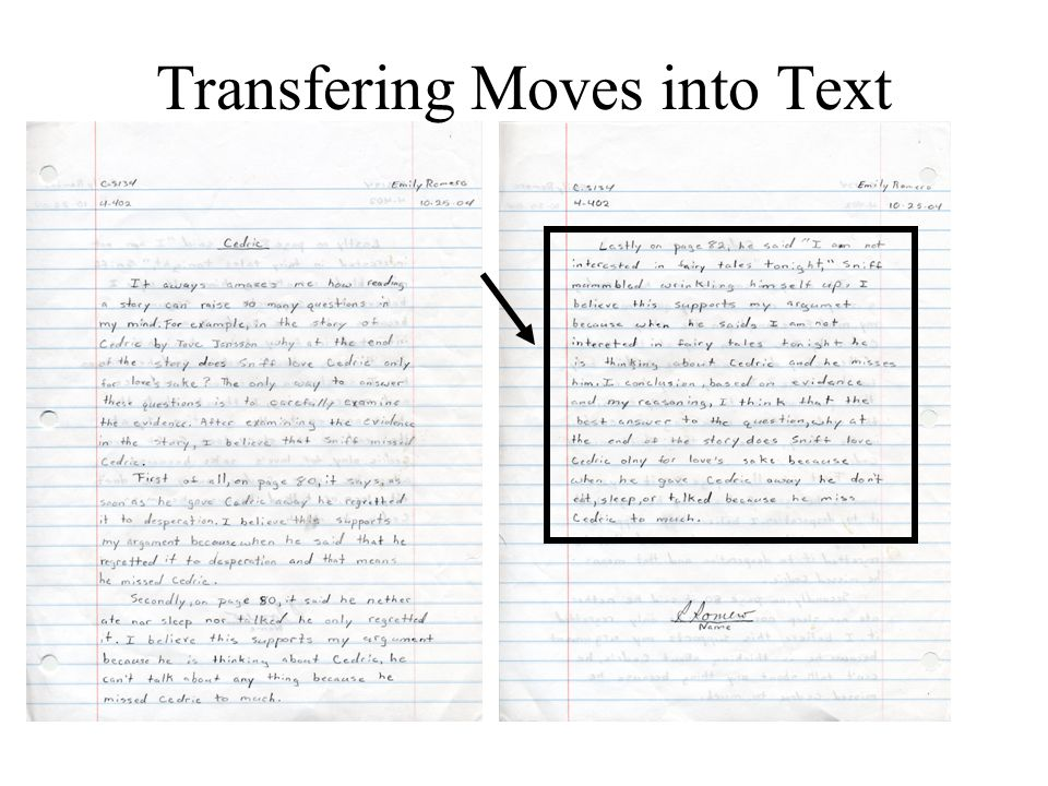 Transfering Moves into Text