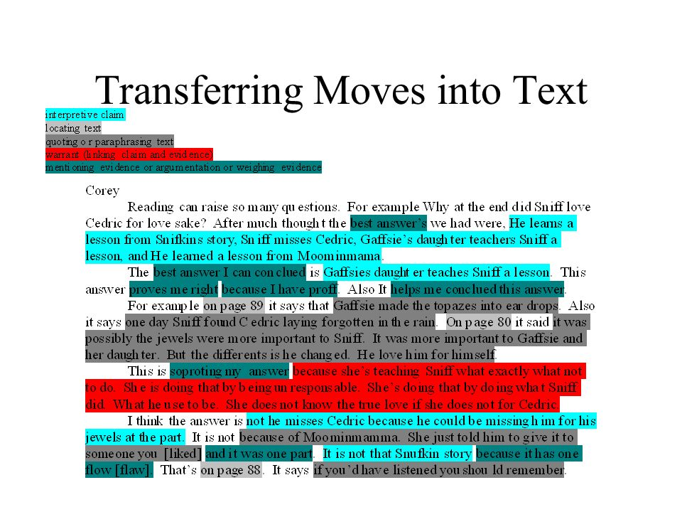 Transferring Moves into Text