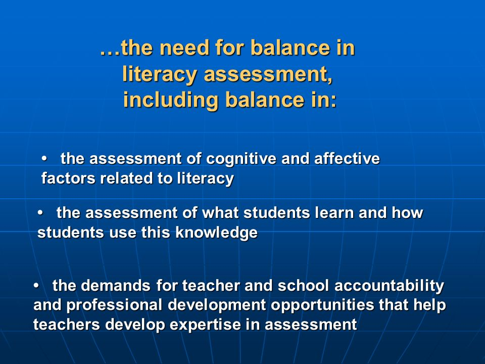 …the need for balance in literacy assessment, including balance in: