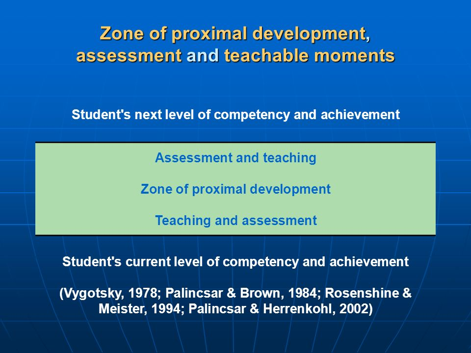 Zone of proximal development, assessment and teachable moments
