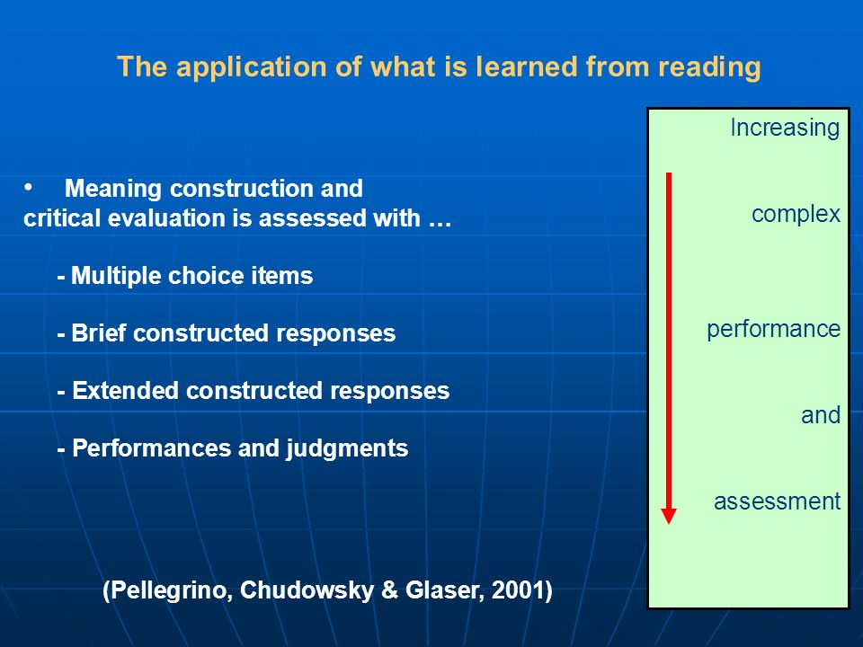The application of what is learned from reading