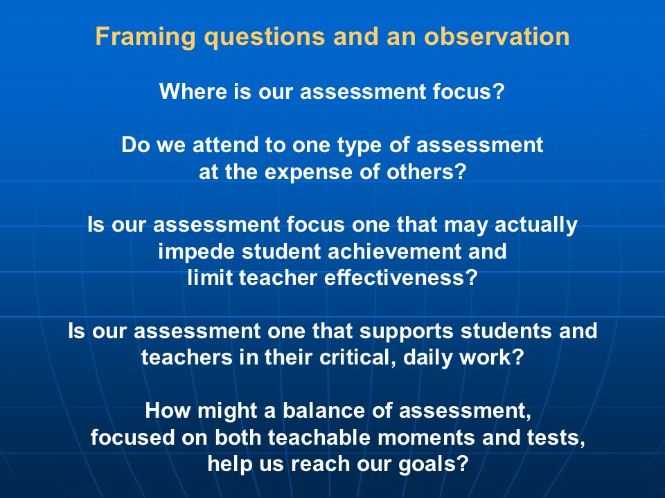 Framing questions and an observation