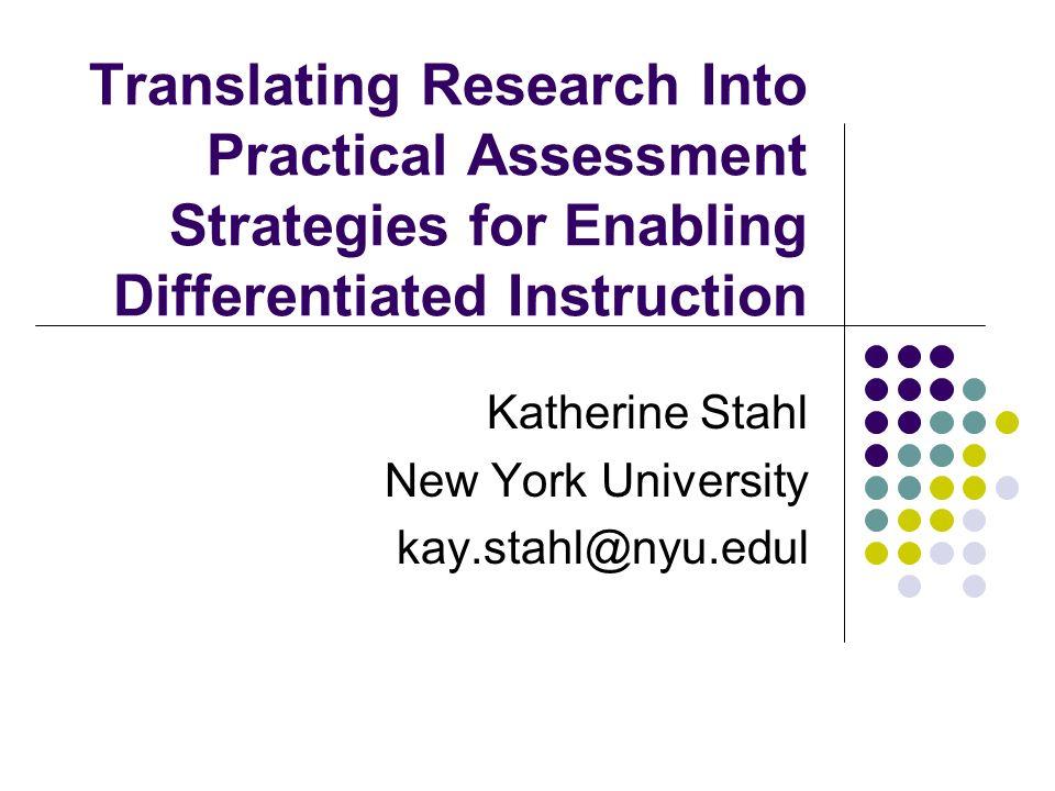 Katherine Stahl New York University kay.stahl@nyu.edul