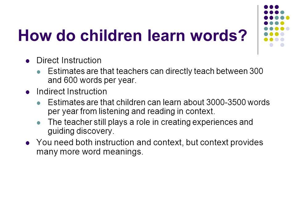 How do children learn words