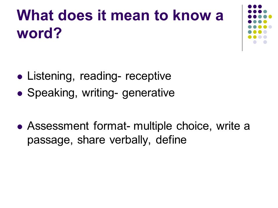 What does it mean to know a word
