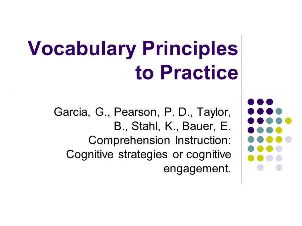 Vocabulary Principles to Practice