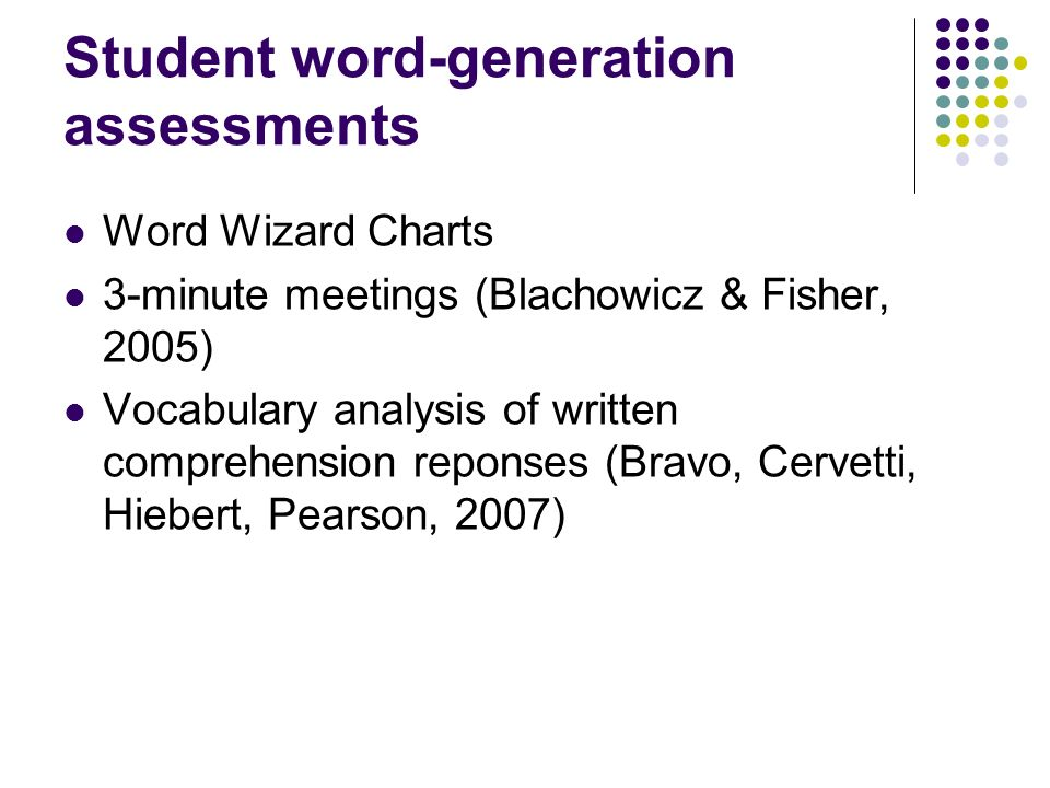 Student word-generation assessments