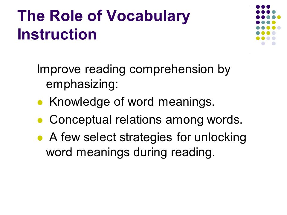 The Role of Vocabulary Instruction
