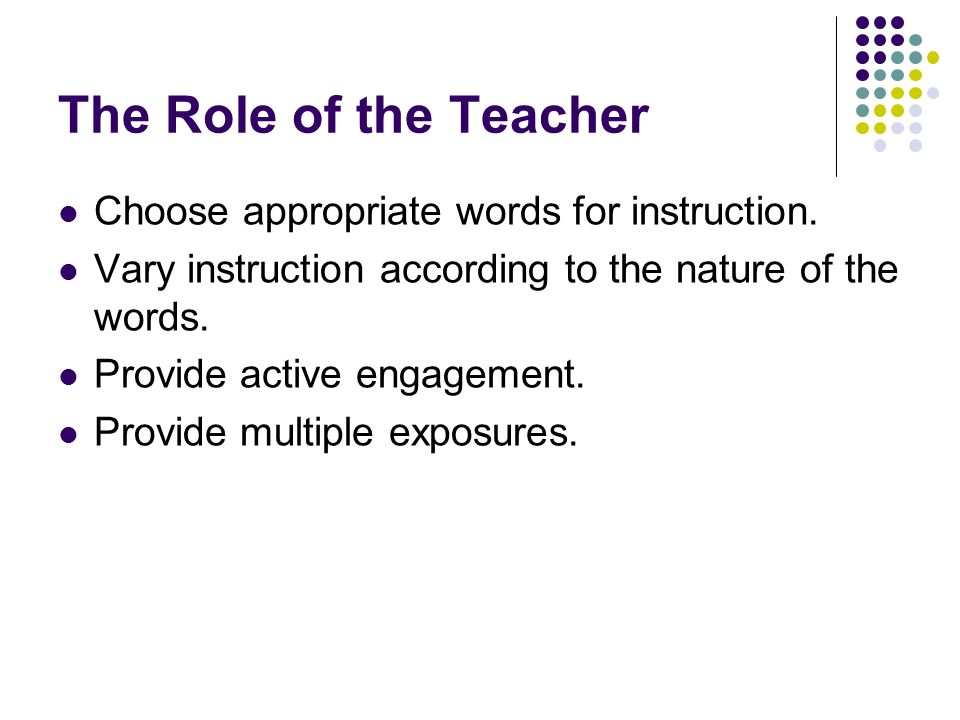 The Role of the Teacher Choose appropriate words for instruction.