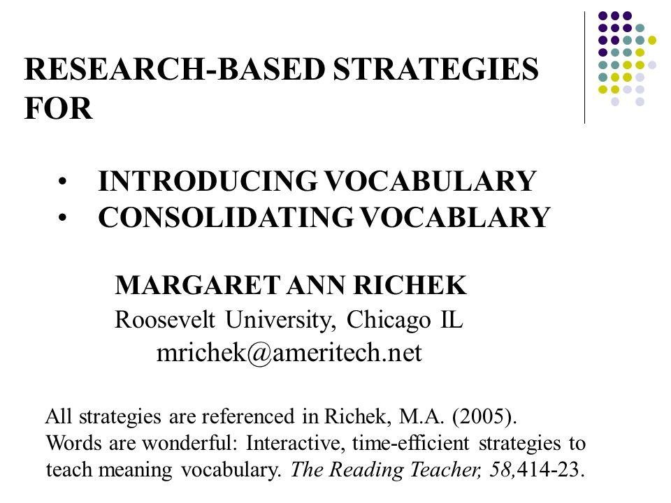 RESEARCH-BASED STRATEGIES FOR