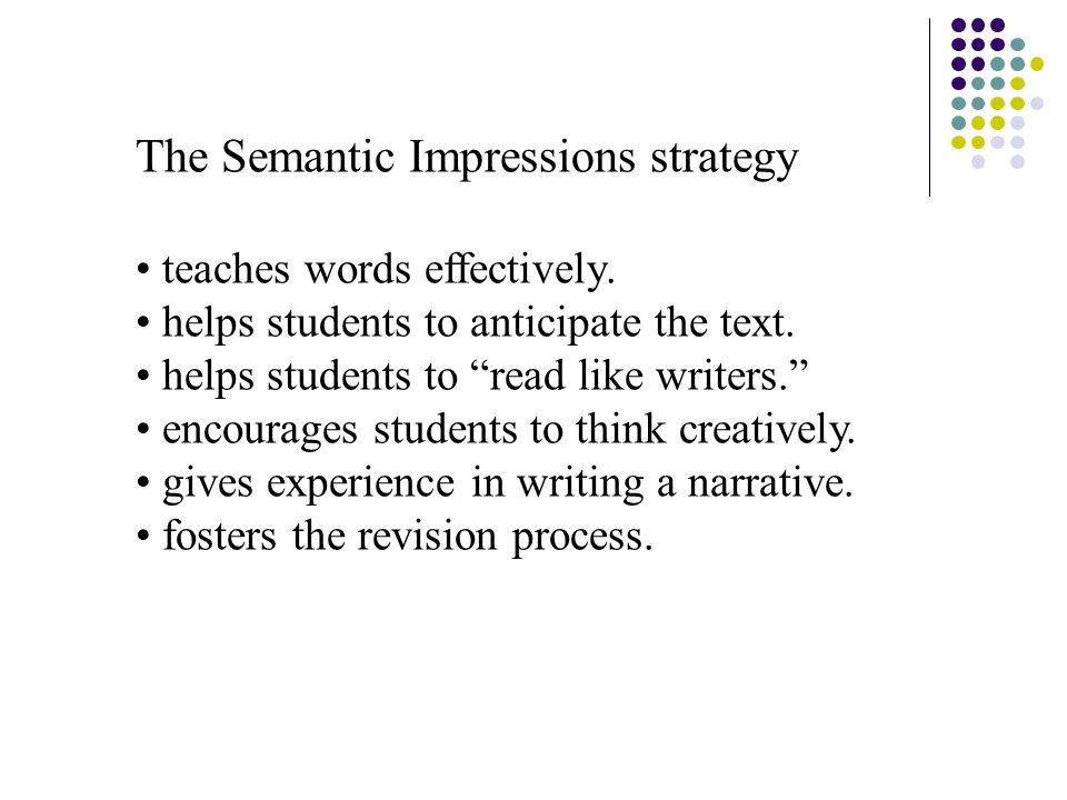 The Semantic Impressions strategy