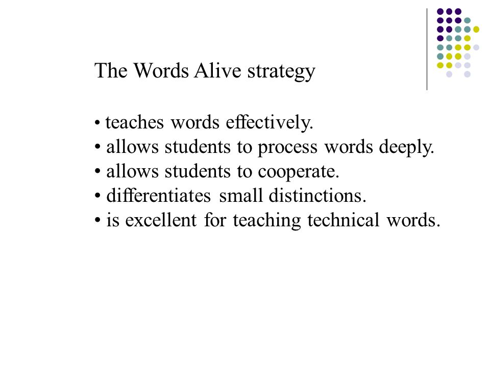 The Words Alive strategy