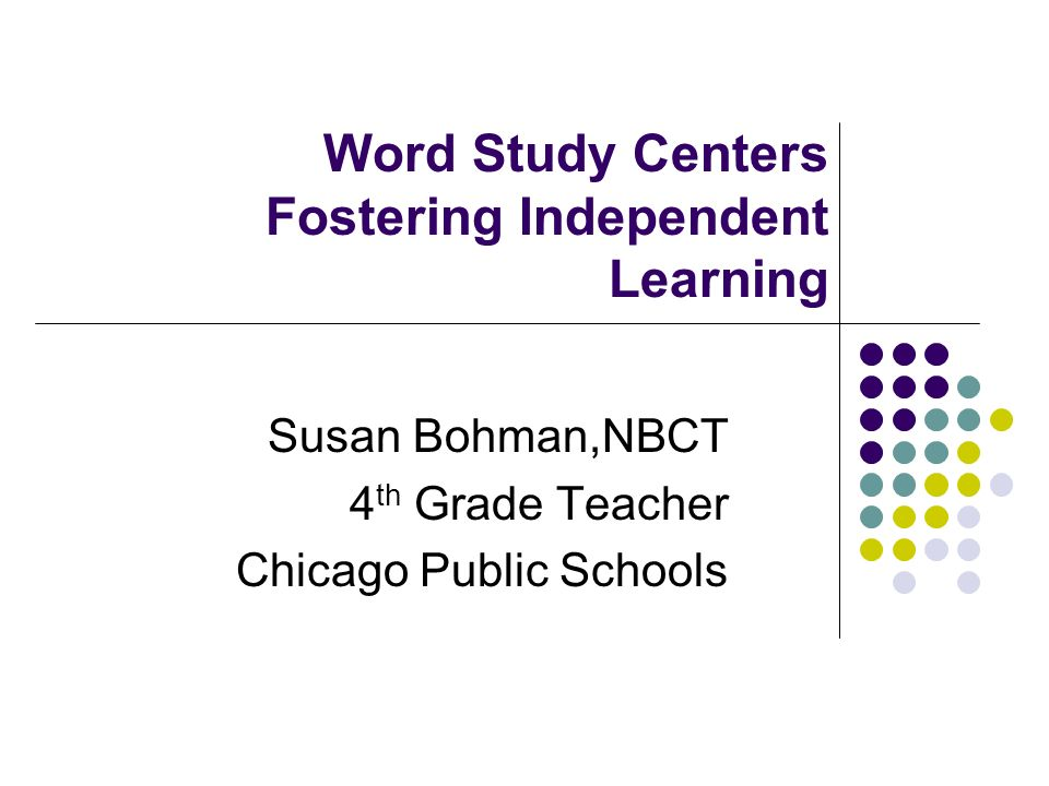 Word Study Centers Fostering Independent Learning