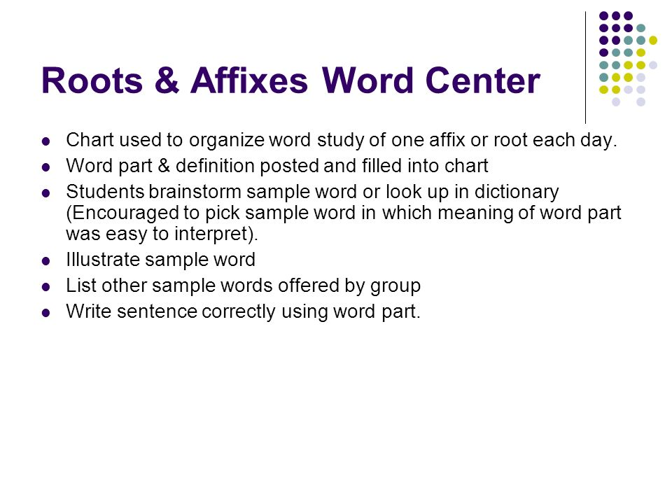 Roots & Affixes Word Center