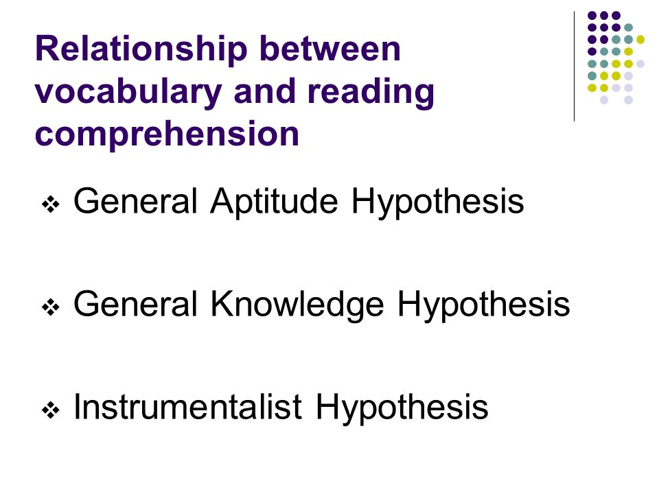 Relationship between vocabulary and reading comprehension