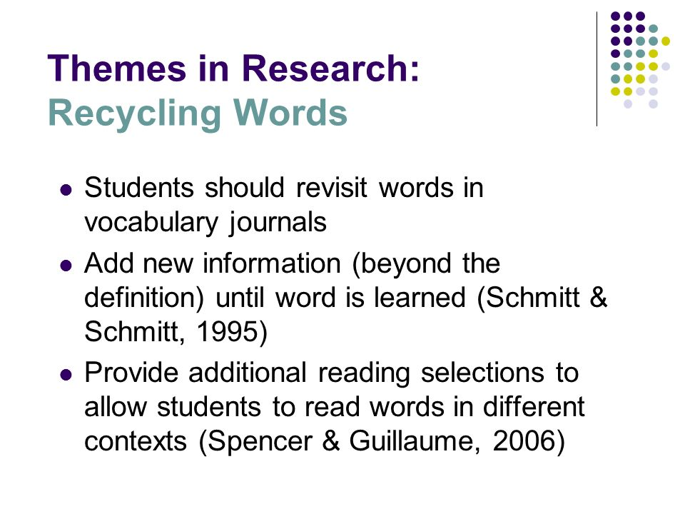 Themes in Research: Recycling Words