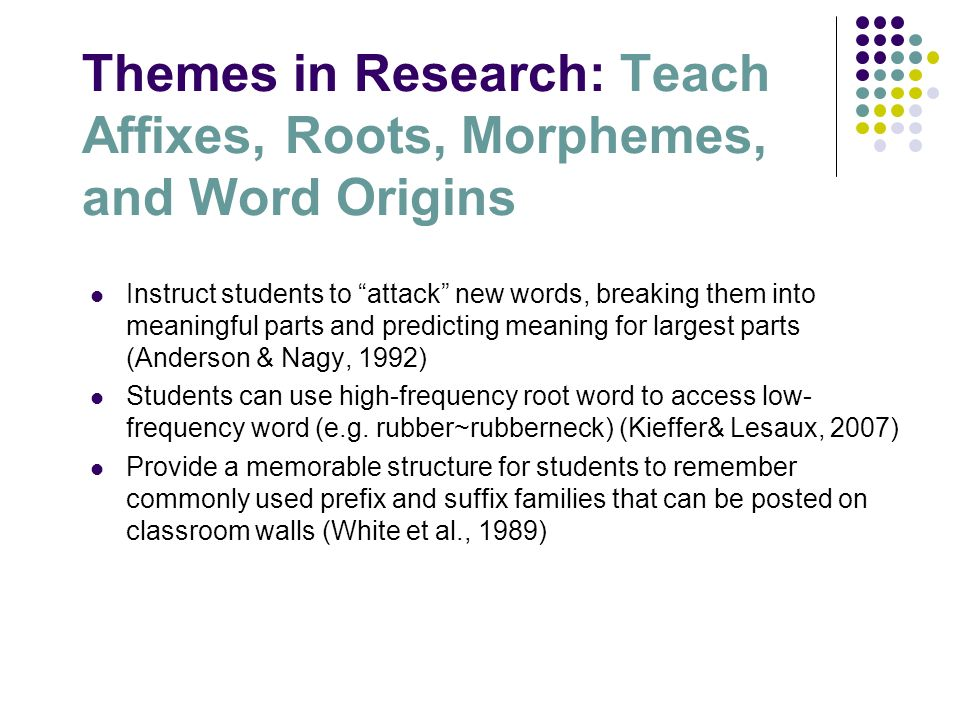 Themes in Research: Teach Affixes, Roots, Morphemes, and Word Origins