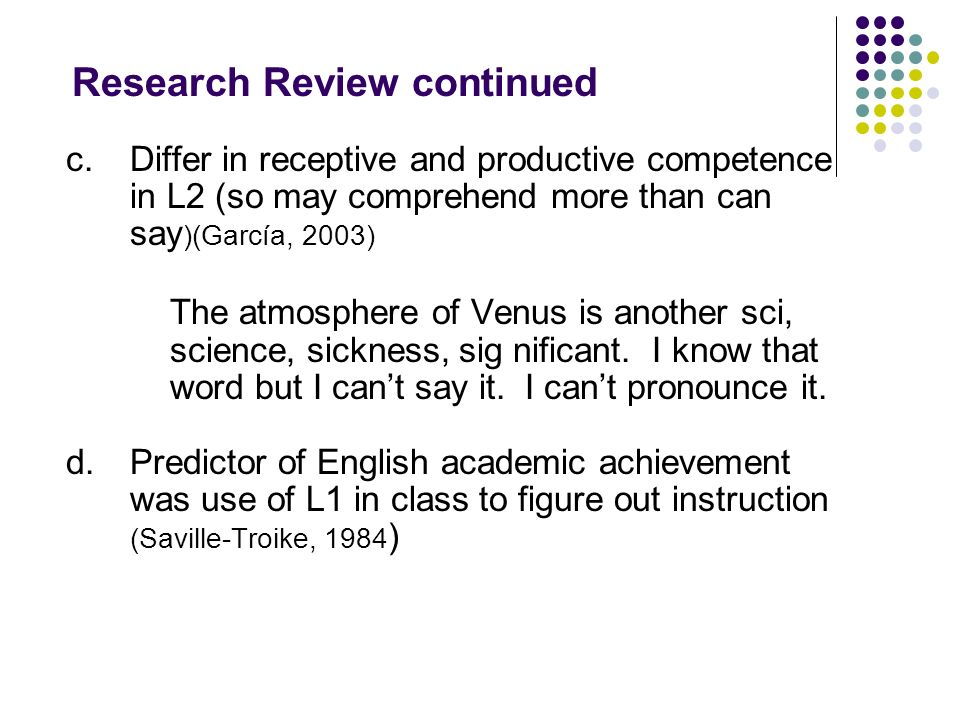 Research Review continued