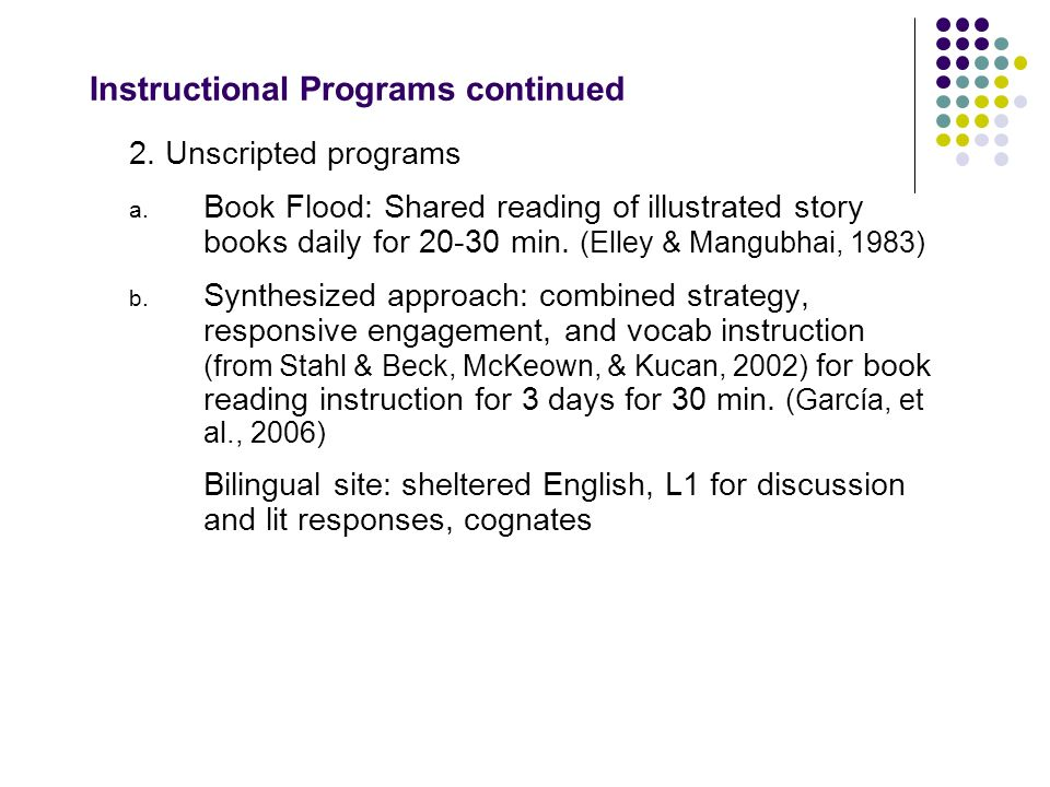 Instructional Programs continued