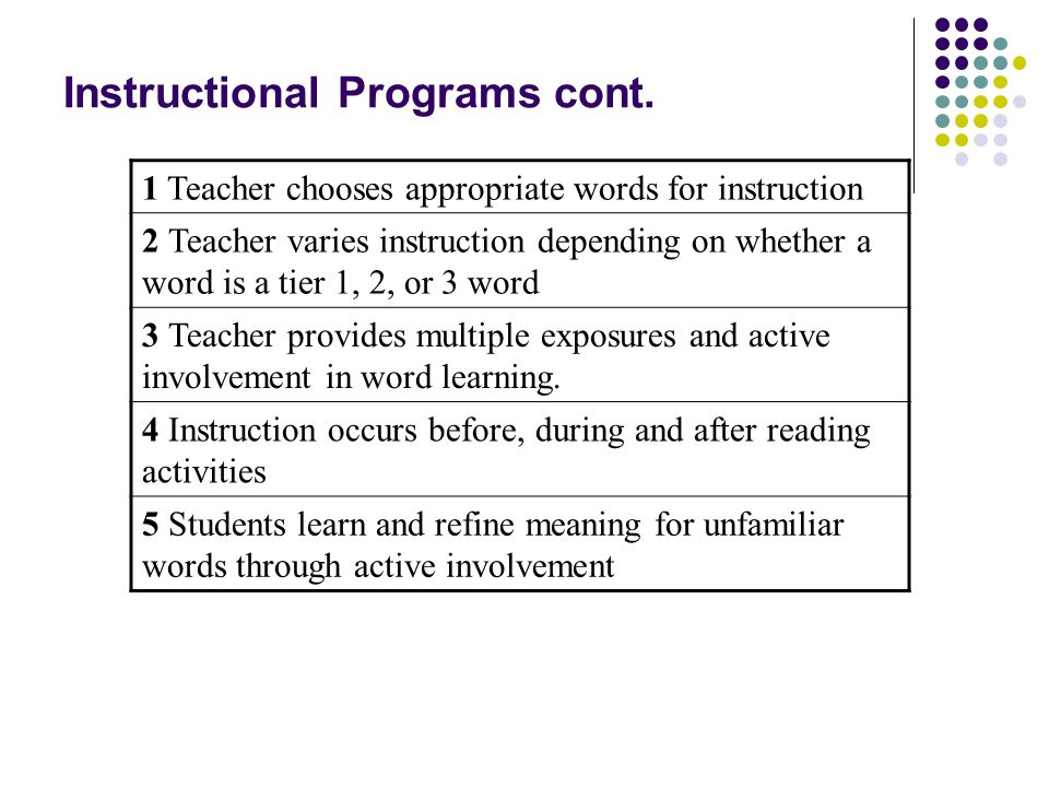 Instructional Programs cont.