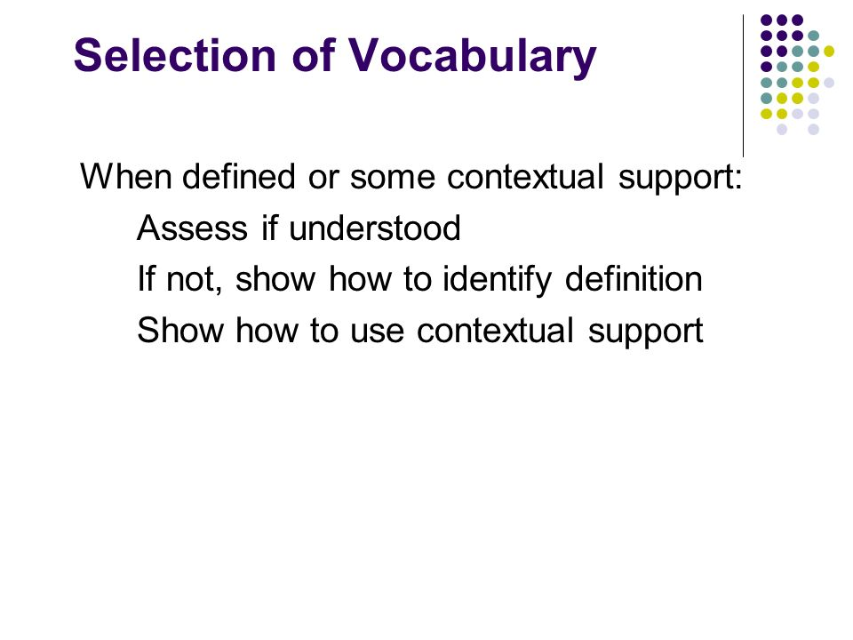 Selection of Vocabulary