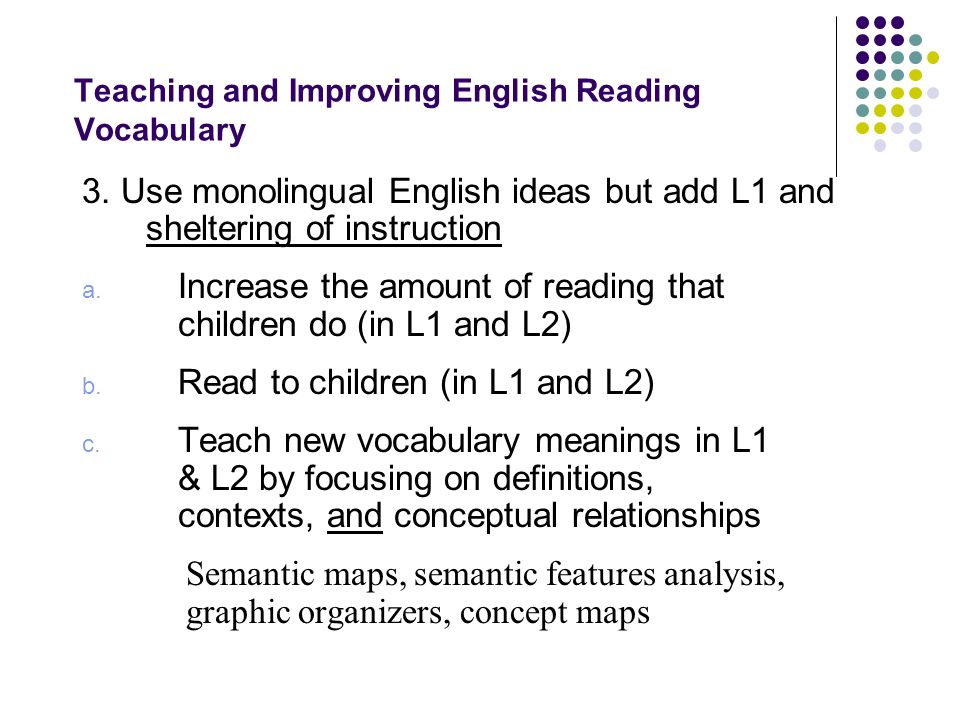 Teaching and Improving English Reading Vocabulary