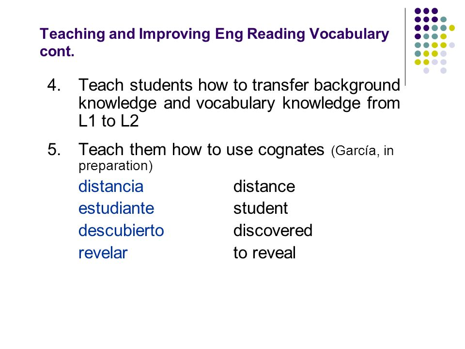 Teaching and Improving Eng Reading Vocabulary cont.