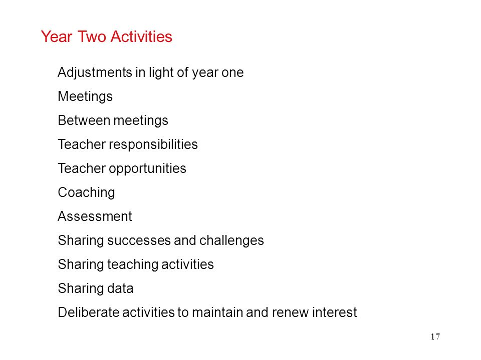 Year Two Activities Adjustments in light of year one Meetings