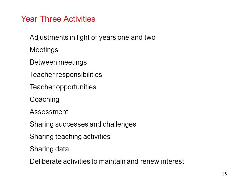 Year Three Activities Adjustments in light of years one and two