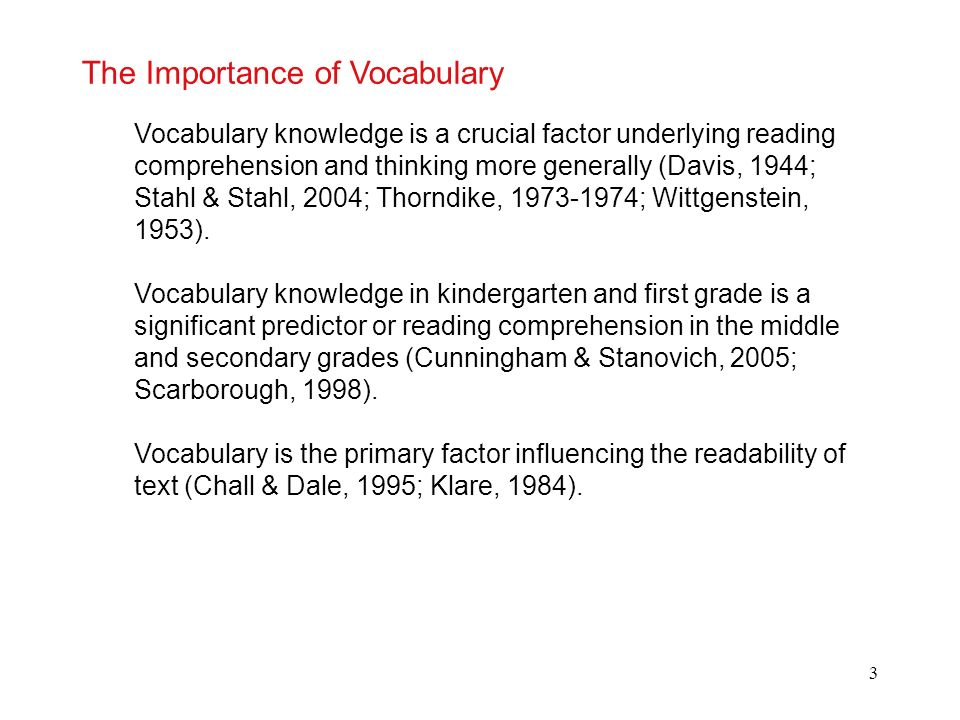 The Importance of Vocabulary