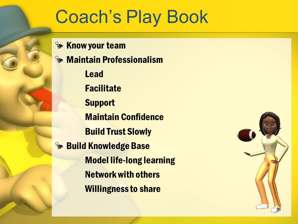 Coach's Play Book Know your team Maintain Professionalism Lead