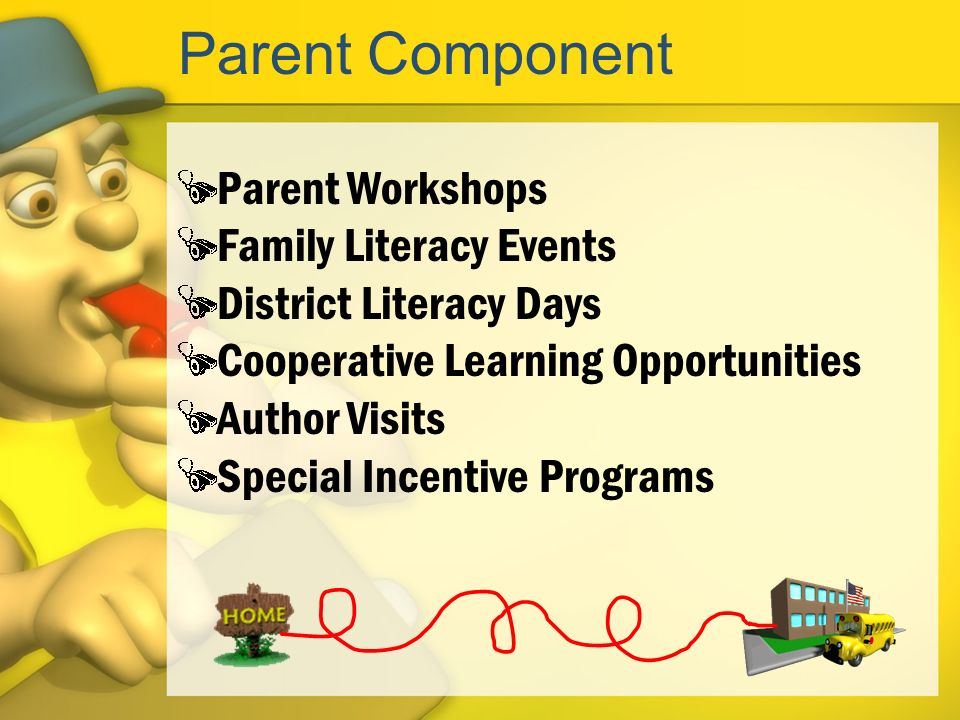 Parent Component Parent Workshops Family Literacy Events