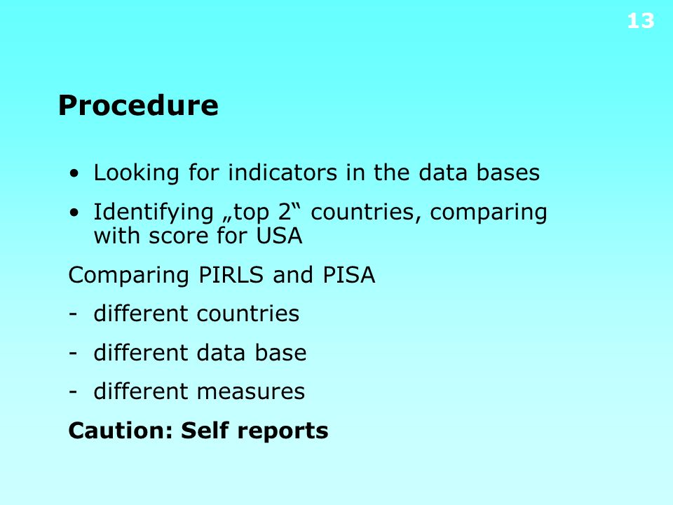 Procedure Looking for indicators in the data bases