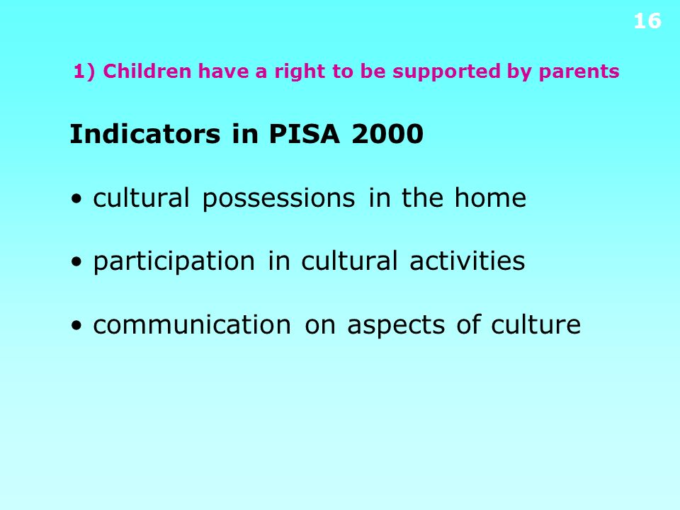 1) Children have a right to be supported by parents