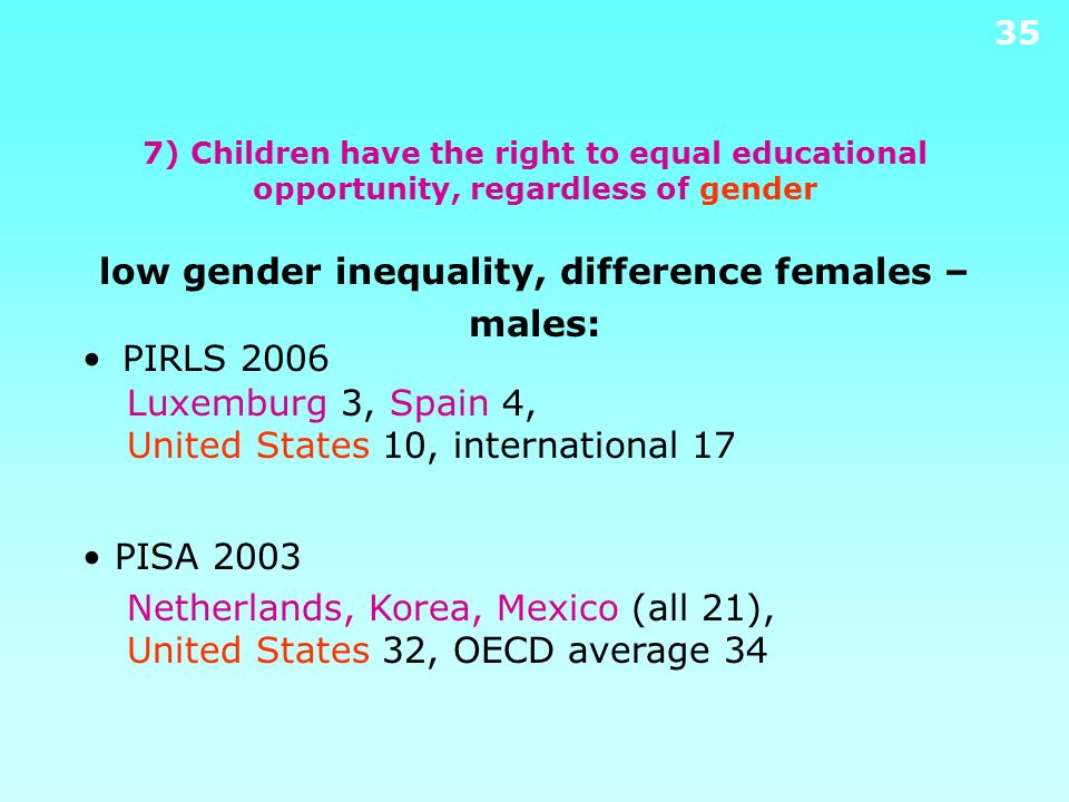 7) Children have the right to equal educational opportunity, regardless of gender low gender inequality, difference females – males: