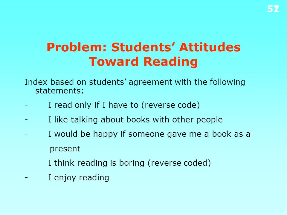 Problem: Students' Attitudes Toward Reading