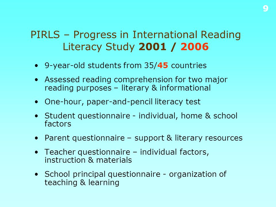 PIRLS – Progress in International Reading Literacy Study 2001 / 2006