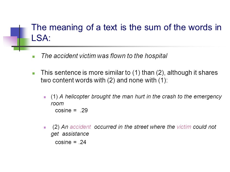 The meaning of a text is the sum of the words in LSA: