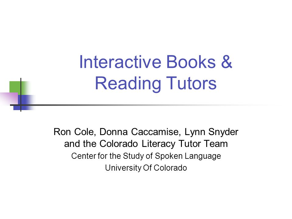 Interactive Books & Reading Tutors