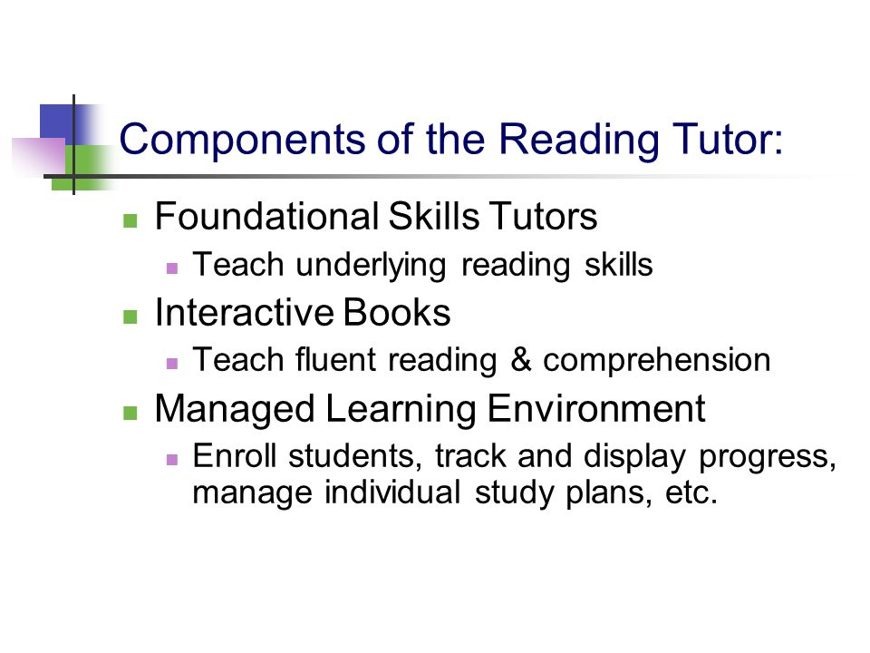 Components of the Reading Tutor: