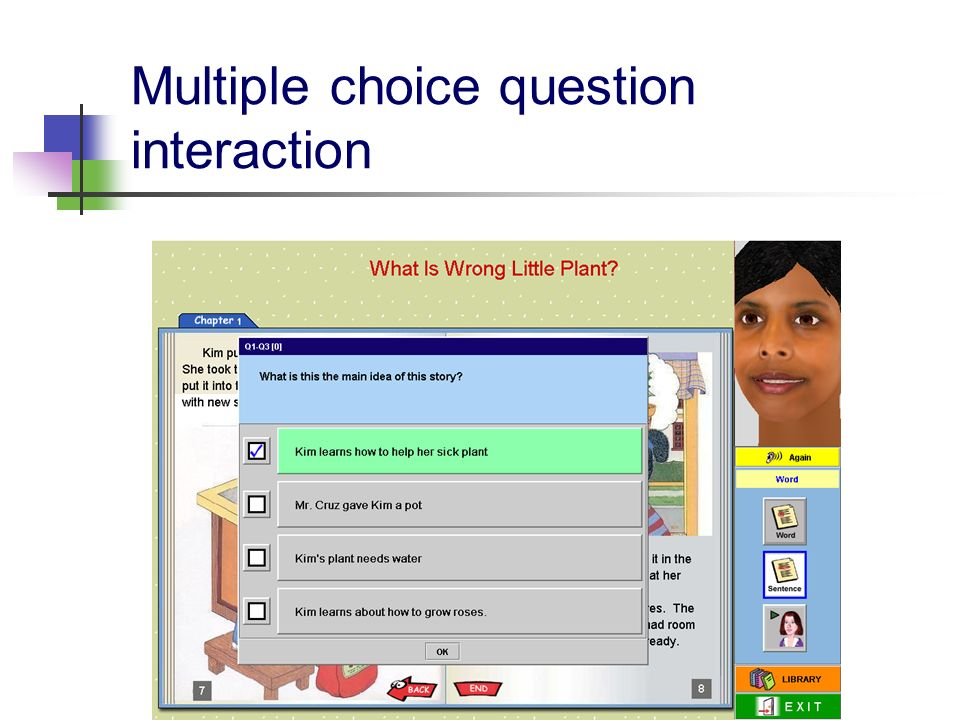 Multiple choice question interaction