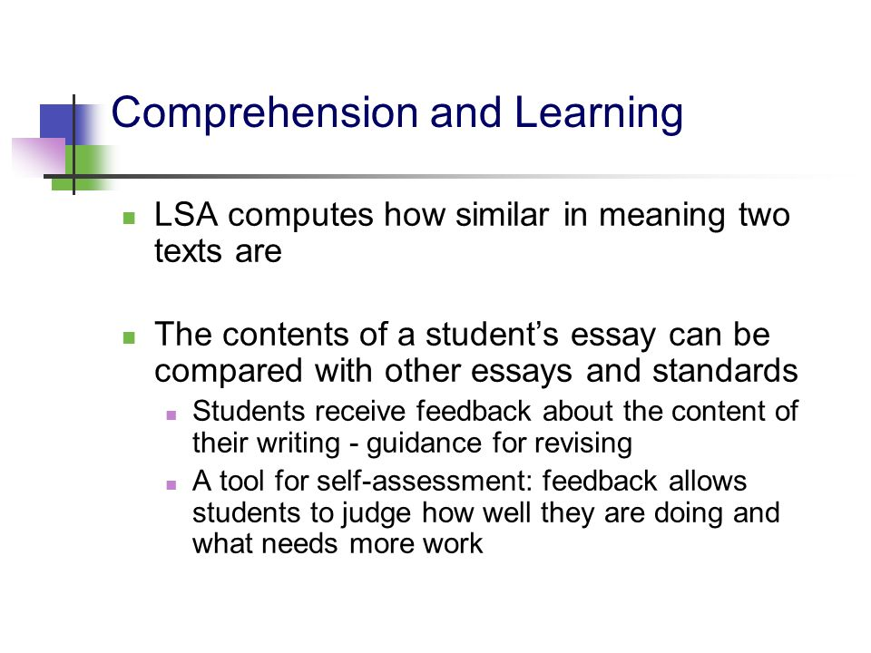 Comprehension and Learning