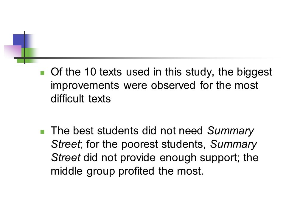 Of the 10 texts used in this study, the biggest improvements were observed for the most difficult texts